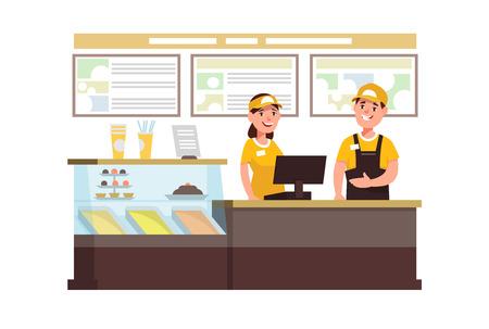 Restaurante trabajador de comida rápida con caja registradora. El personal de Cervice jóvenes hombres y mujeres en uniforme en el lugar de trabajo en la cafetería
