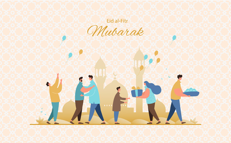 Muslim people feast of breaking the fast.Happy muslim community give gifts, charity and congratulate each other. Eid al-Fitr greeting card vector Illustration