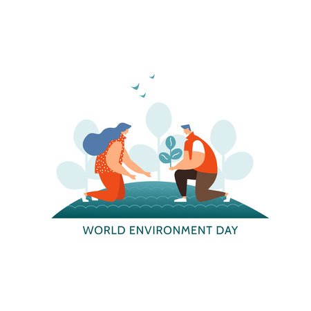 Vector illustration concept world environment day icon. Young couple plant trees together