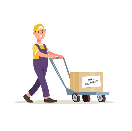 Vector illustration courier holds a box of goods in his hands. Concept free delivery and shipment of cargo Illustration
