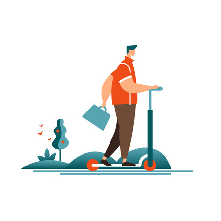 Vector illustration businessman riding scooter icon. Use people environmentally friendly transport Ilustrace