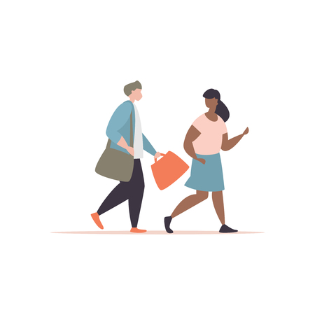 Vector illustration couple of young people go to school. Concept of a school friendship and first love. Guy carries the briefcase of a school friend modern style Иллюстрация