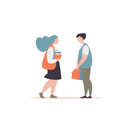 Vector illustration couple of young student are talking. Concept of a school friendship and communication. Guy carries the briefcase of a school friend modern style Illustration