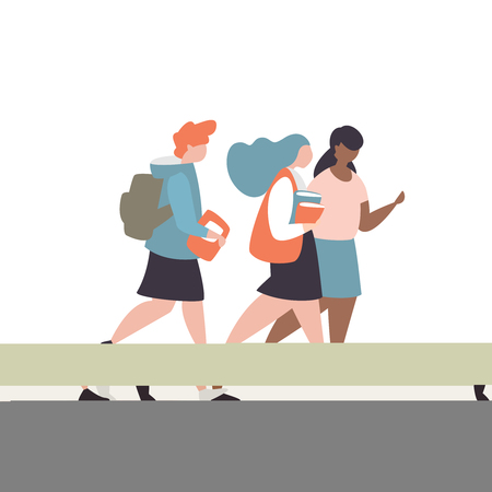Vector illustration student girls with briefcase and book go to school. Concept of a school friendship and communication