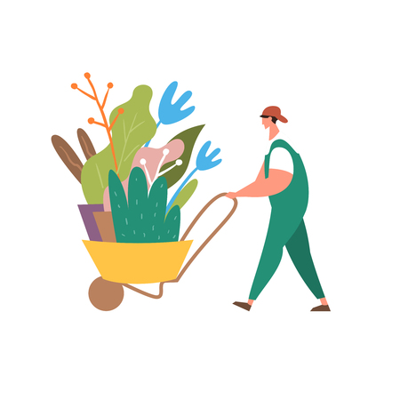 Vector illustration gardener with wheelbarrow of plants. Concept of landscape design Иллюстрация
