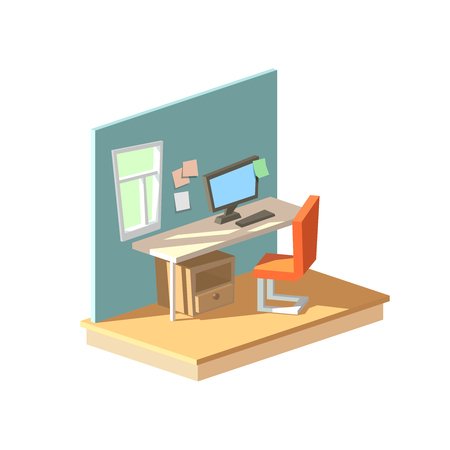 Vector isometric workplace in interier. Home office with desk, computer and chair nobody low poly style