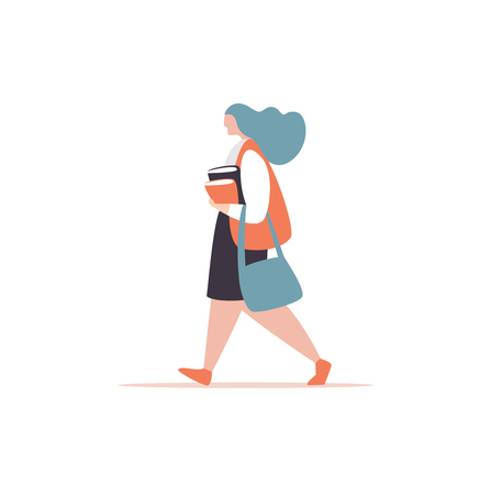 Vector illustration schoolgirl or student girl with briefcase and book go to school white background. Concept young woman walk to the office modern style Иллюстрация