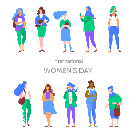 Moden vector concept International Womens Day. Group multiethnic women different age