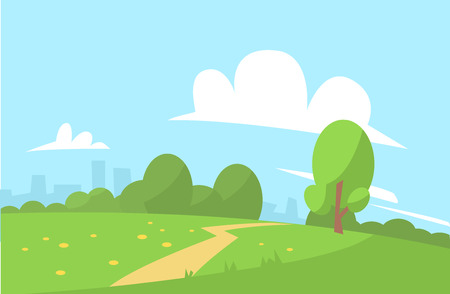 Summer landscape vector illustration cartoon style background Иллюстрация