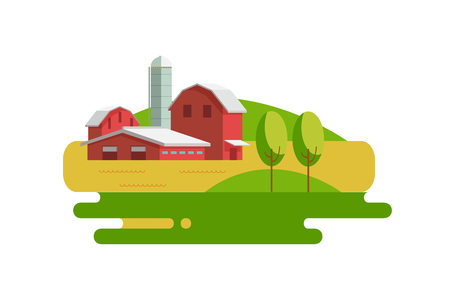 Vector illustration nature rural landscape with farm, fields and hiil