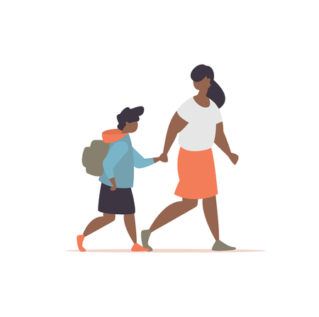 Vector illustration mother accompanies his daughter to school modern style. Schoolgirls with a parent go to school together