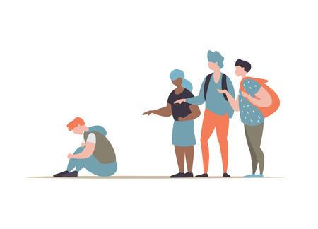 Ilustración de vector grupo de estudiantes o personas de la escuela intimidando y reprimir al chico sentado en el suelo. Concepto de discriminación, racismo y comunicación negativa en la escuela y la sociedad