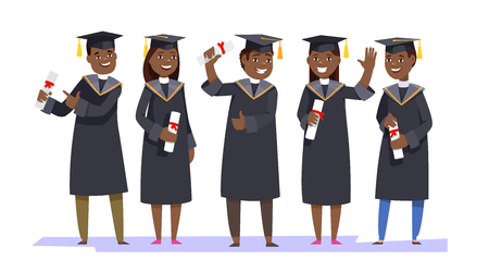 Group happy smiling african graduates in graduation gowns holding diplomas in their hands isolated background. Vector illustration concept graduation ceremony cartoon style