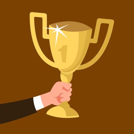 Businessman hand holding gold cup award icon. Vector illustration concept success, achievement, triumph Vettoriali