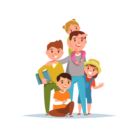 Happy father and his child boy and girl standing together on white background. Vector illustration concept family life, fatherhood and father day