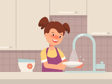 Happy little girl wash the dishes in the kitchen. Vector illustration concept family cartoon flat style Standard-Bild - 114945127