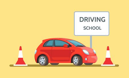 Ilustración de vector de escuela de conducción de coche rojo al aire libre en estilo plano. Educación de conductores de concepto de diseño.