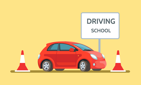 Vector illustration of red car driving school outdoor in flat style. Design concept drivers education.