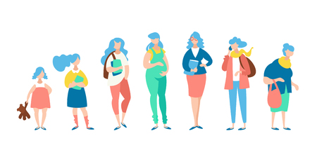 Moden vector concept women different age. The stages of human growth