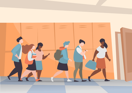 Vector illustration group of students walking school corridor to the classroom. School interior inside with characters Illustration