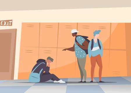Ilustración vectorial pareja de estudiantes intimidando y reprimir al chico sentado en el suelo. Concepto de discriminación, racismo y comunicación negativa en la escuela y la sociedad. Situaciones en el pasillo de la escuela. Ilustración de vector
