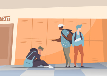 Vector illustration couple students bullying and suppress the guy sitting on the floor. Concept discrimination, racism and negative communication in school and society. Situations in school corridor Stockfoto - 104791878