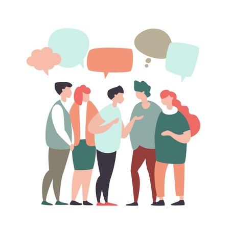 Illustration vectorielle les jeunes communiquent, interagissent, discutent avec des bulles dans un style design moderne. Concept de travail d'équipe, réseaux sociaux, communication globale