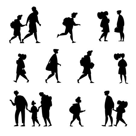 Establecer carácter diferente estudiante niño de escuela primaria, estudiante de secundaria, estudiantes de colegio, universidad y graduados van a la escuela aislada Ilustración de vector