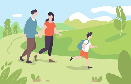 モデ・フラット・スタイルで公園の屋外自然を歩く子供とベクトルイラスト若い家族