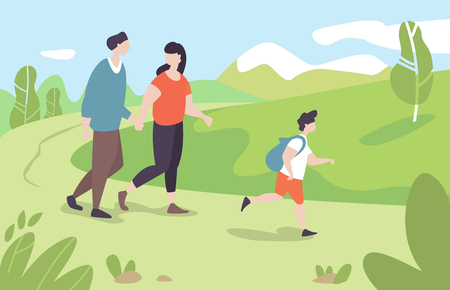 Vector illustration young family with kid walking in park outdoor nature in moden flat style