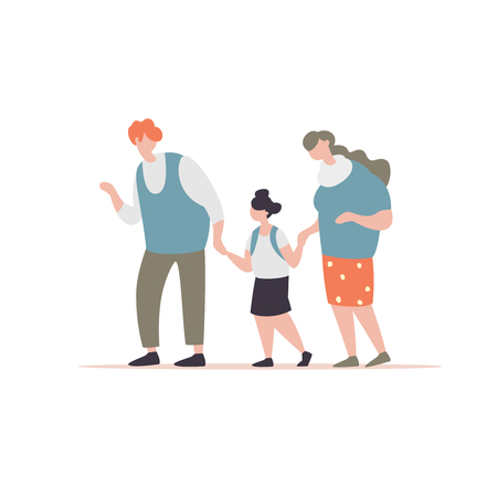 Vector illustration grandfather and grandmother accompanies his granddaughter to school modern style. Primary schoolgirls with old senior go to school together Illustration