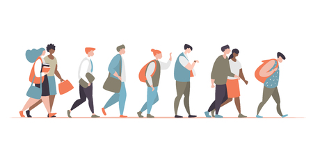 Vector illustration group character office workers walk, interact and communicate with each other isolated Ilustrace