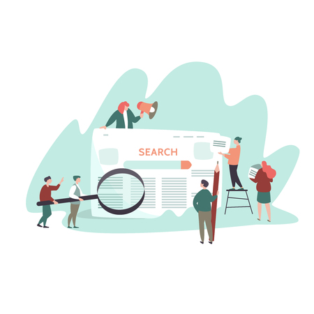 Vector illustration of small people and search engine result page . Concept search engines, seo, marketing Stock Vector - 105733756