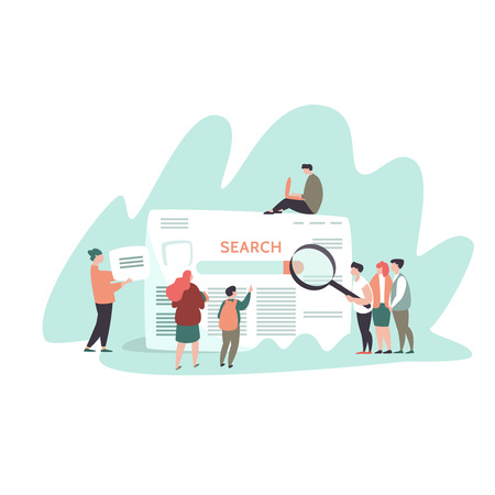 Vector illustration of small people and search engine result page . Concept search engines, seo, marketing Illustration