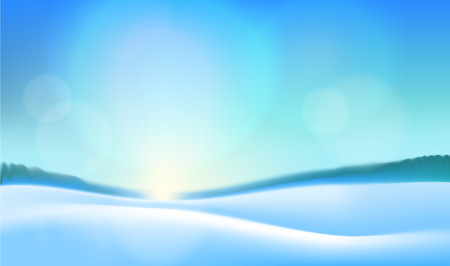 Winter blue landscape nature background. Frosty day with snowy hills , blue sky, bright sun. Vector illustration