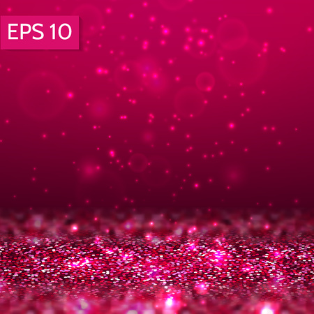 Red glitter lights vector background. 3d abstract glow scene with bokeh, sparcle for party, christmas,birthday,festive template