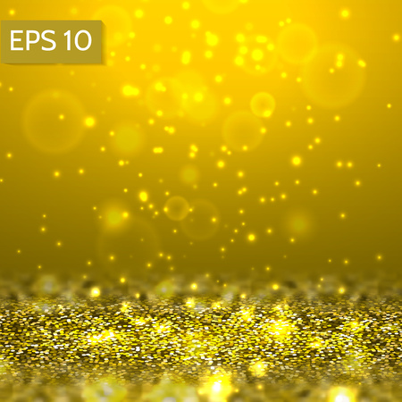 Yellow glitter lights vector background. 3d abstract glow scene for party, christmas,birthday,festive template