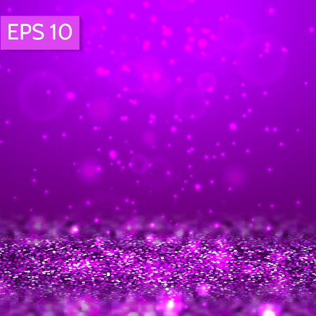 Purple glitter lights vector background. 3d abstract glow scene for party, christmas,birthday,festive template