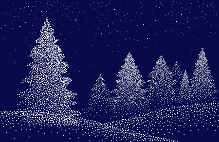 Winter background landscape with fir trees and pines in snow. Coniferous forest, night, sky, stars. Christmas Decoration. Vector illustration