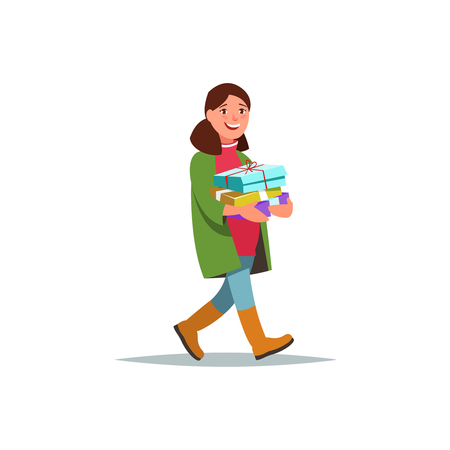 Young female shopping for the winter holiday,carrying gifts in her hands . Happy people prepare for Christmas and give presents cartoon style isolated