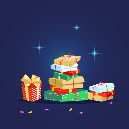 Gifts box for Christmas, birthday, anniversary. Christmas donate concept. Vector illustration a lot of present winter season charity