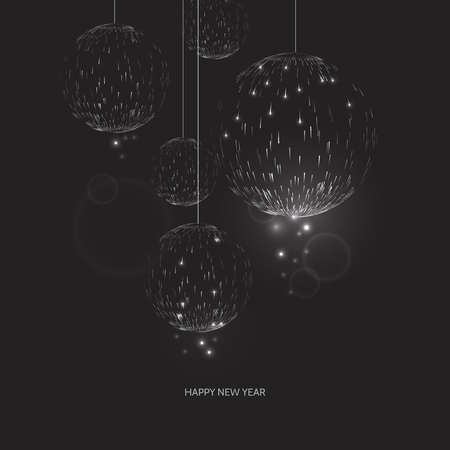 Happy new year black background. Glow Christmas ball design greeting card. Vector illustration Иллюстрация