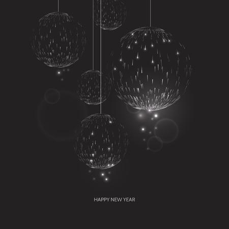 Happy new year black background. Glow Christmas ball design greeting card. Vector illustration Illustration
