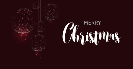 Merry christmas black background. Glow Christmas ball design greeting card. Vector illustration