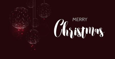 Merry christmas black background. Glow Christmas ball design greeting card. Vector illustration