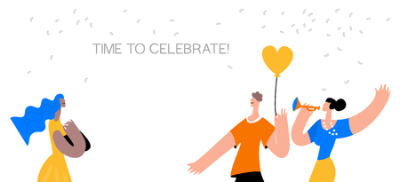 Group of friends making party,celebration birthday, carnival, anniversary.Event, celebration and holidays concept moden flat style. Vector illustration Illustration