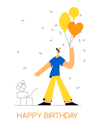 Birthday celebration greeting card, poster, web banner . Young man with balloon gift box and falling confetti moden flat style