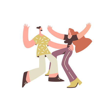 Dancing couple hipster on white background. Dance school, party, and leisure concept moden flat style. Vector illustration