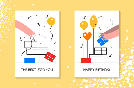Birthday celebration with balloon, gift box and falling confetti greeting card, poster, web banner moden flat style Иллюстрация