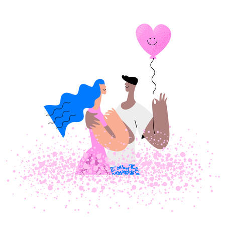 Valentines day poster. Love young couple with pink heart balloon . Vector illustration moden flat style Иллюстрация